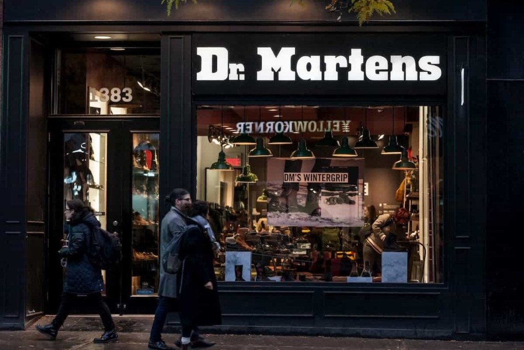 Dr Martens logo on their main shop for Montreal, Quebec - Can You Hike in Doc Martens